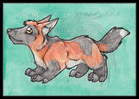 Chibi Watercolors: Cross Fox 2015 by AirRaiser
