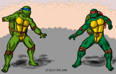 Leo and Raph fight
