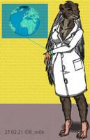 Hedgehog-woman scientist