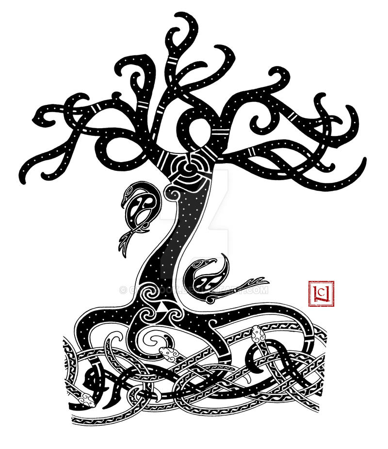 Yggdrasil mammen style tattoo commission by one rook on for Tattoo style logo design