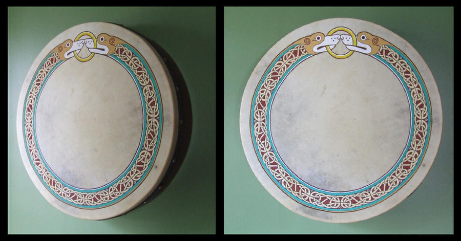 Celtic border-design on a bodhran drum by one-rook