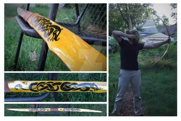 Osage flatbow with Urnes design