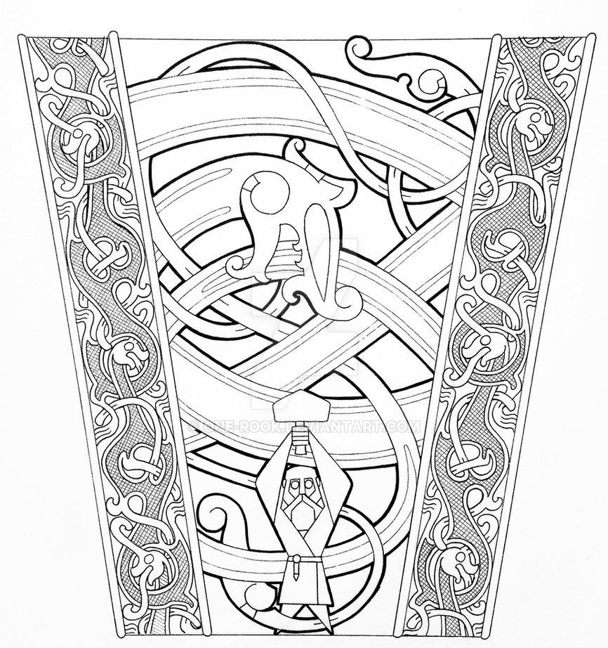 Thor and Jormungandr Oseberg sleeve by one-rook