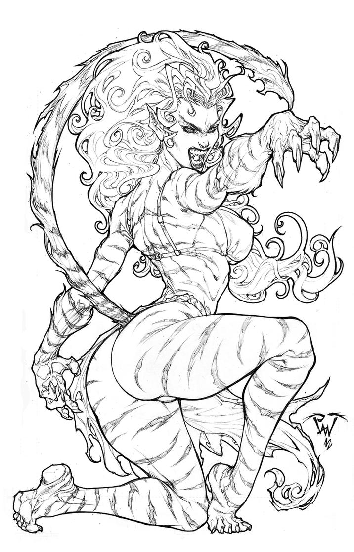 From Marvel universe: Tigra by pant
