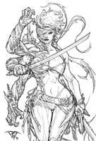 Cyberforce's female striker by pant