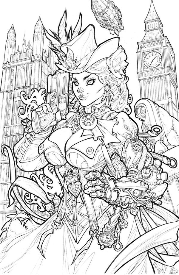 steampunk girl coloring pages - photo#24