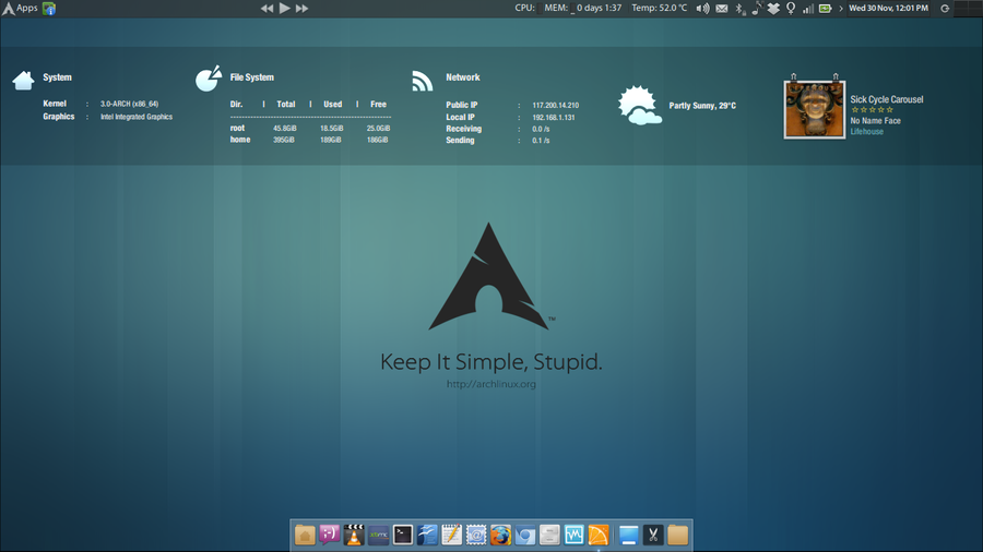 My arch simple desktop. by abhinandh
