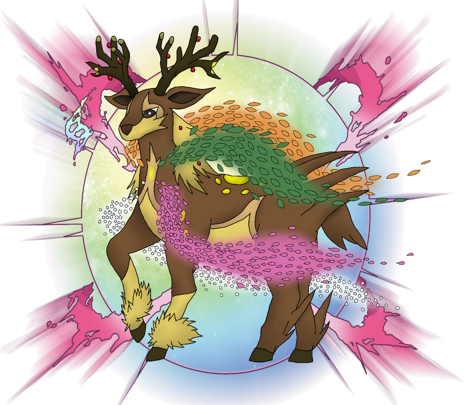 Fanmade Mega Evolution Mega Sawsbuck By Derahex On Deviantart