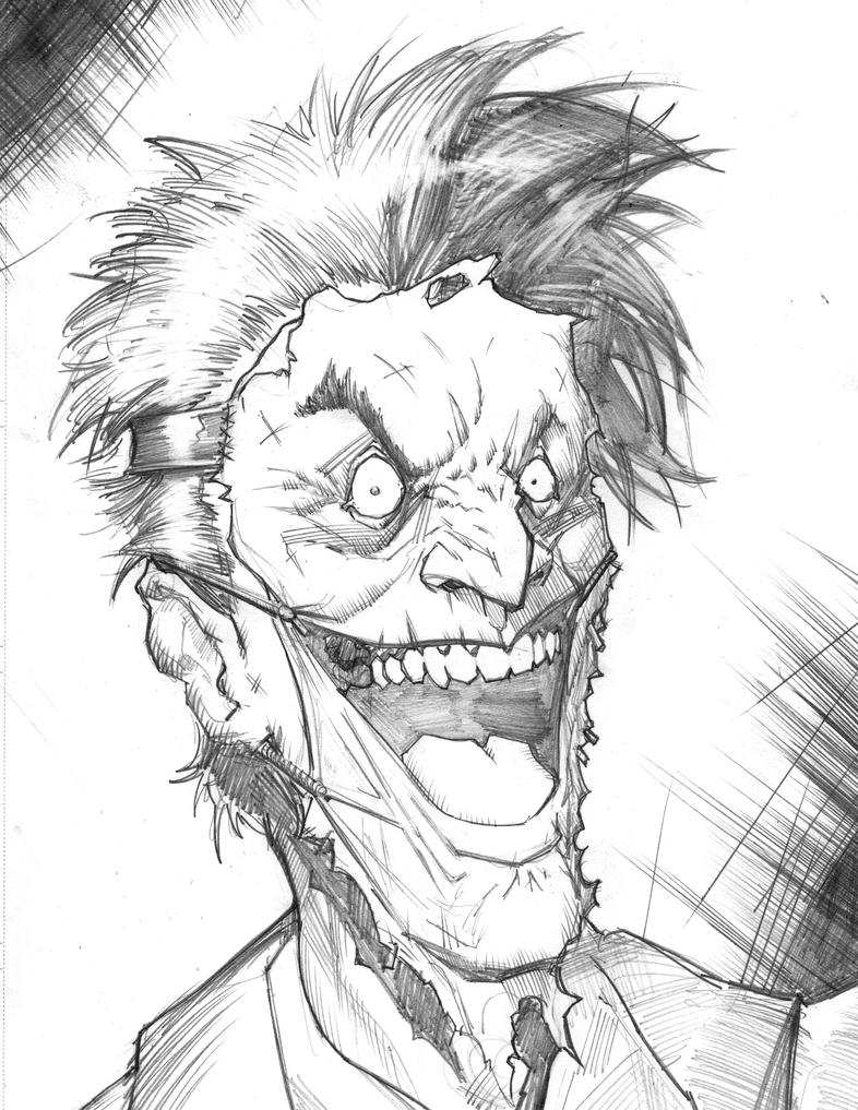 Joker Face Sketch By Freddylupus