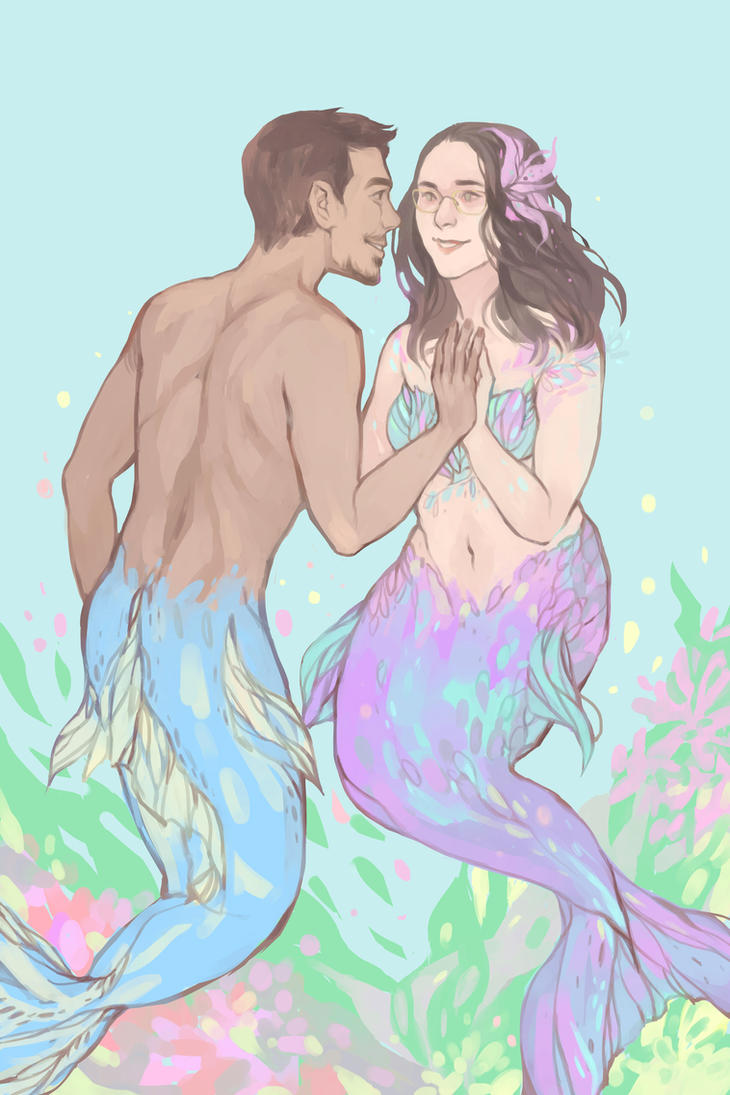 Commission :  Mermaid Couple by DaryaSpace