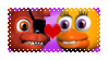 Foxy x Chica Stamp (FNAF World) by D-EEVA