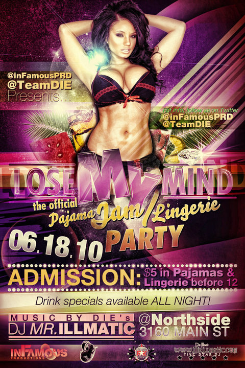 lose my mind pajama jam party flyer by v1sualpoetry on