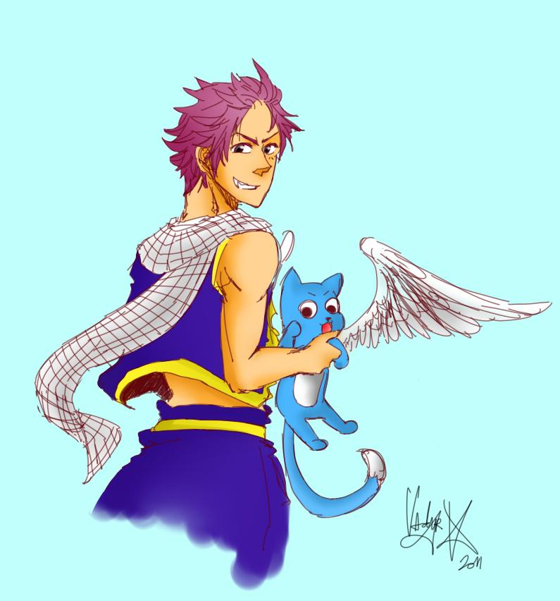 natsu and happy by Vadyr