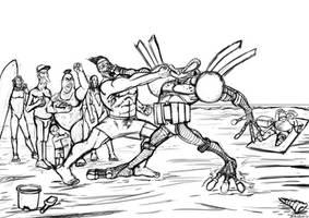 Ranxerox vs Cyberfrog sketch [fanart]