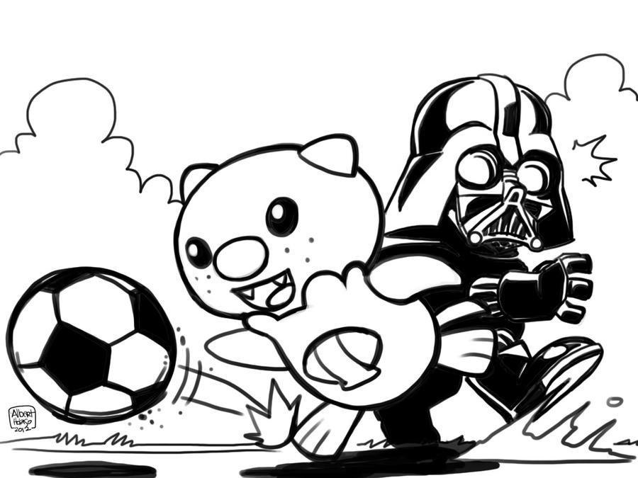 oshawott vs darth vader in soccer by holaso