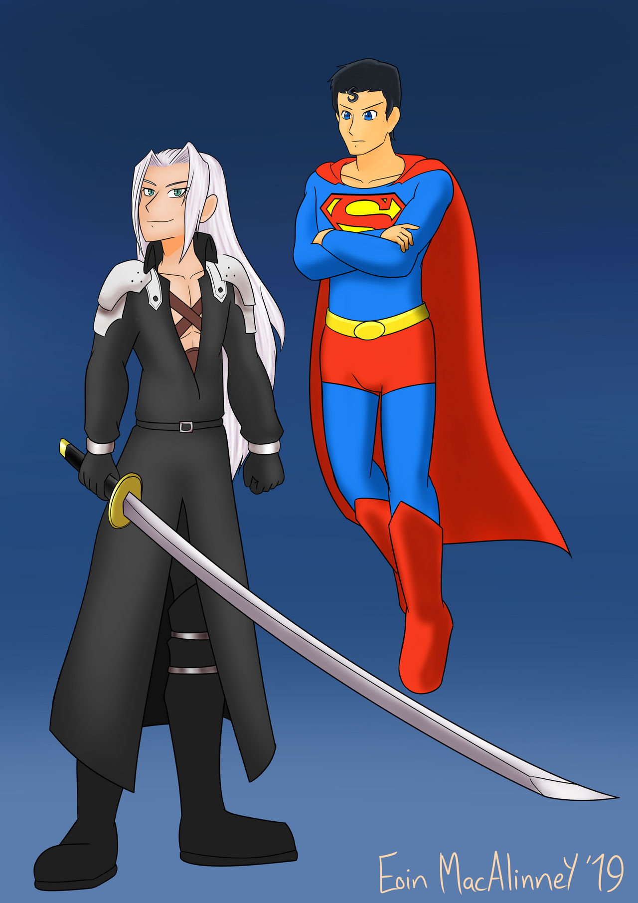 Old Art Superman And Sephirtoth By Kudotsurugi On Deviantart