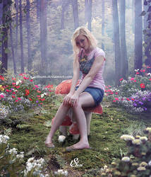 A beautiful woman and the forest