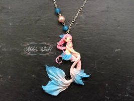 Mother and daughter chibi mermaids - Pink and blue by Akiko-s-World