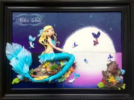 Blue and white mermaid in the sea - custom order by Akiko-s-World