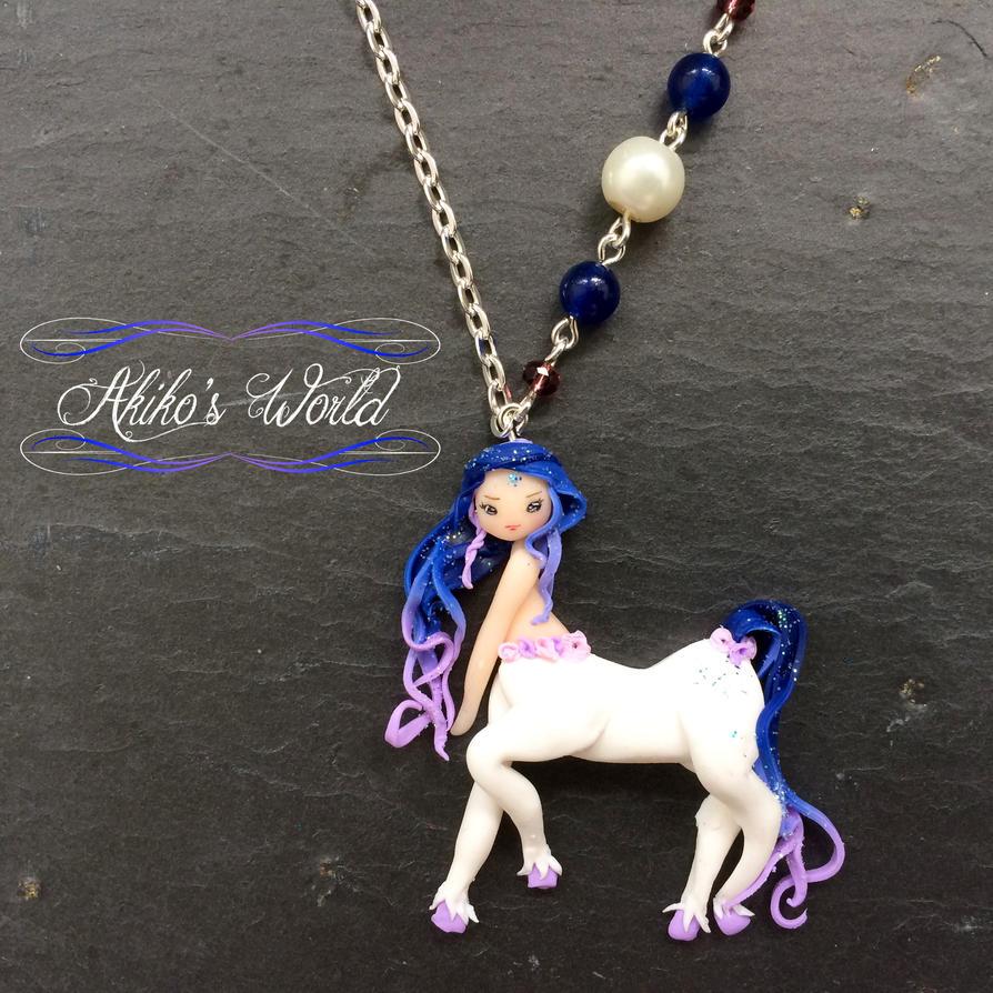 Blue and white chibi centaur by Akiko-s-World