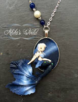 Milky way mermaid cameo - Necklace commission by Akiko-s-World