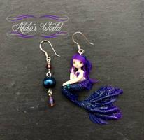 Purple and blue mermaid earrings - 925 Silver by Akiko-s-World