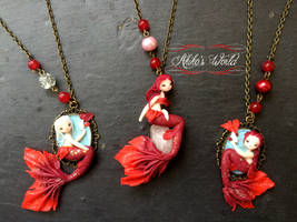 Red mermaids - Quartz and cameo by Akiko-s-World