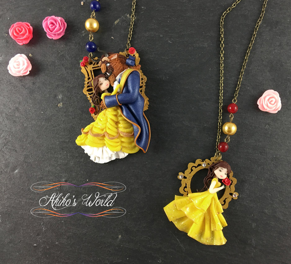 Beauty and the beast necklaces by Akiko-s-World