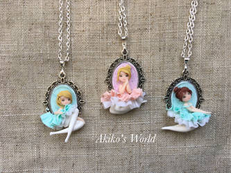 New ballerina collection - Polymer clay necklaces by Akiko-s-World