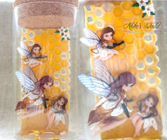 Fantasy beehive bottle made out of polymer clay