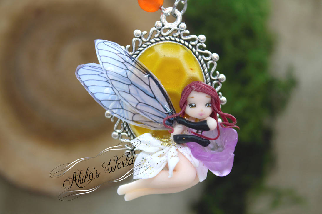 Fantasy redhead chi-bee fairy on her beehive cameo by Akiko-s-World