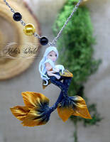 Mother and Daughter mermaid, polymer clay necklace