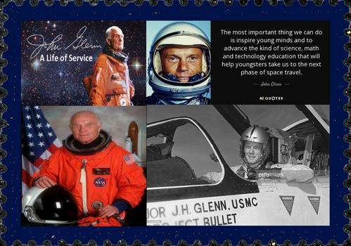 John Glenn, 1st American to orbit the Earth, dies.