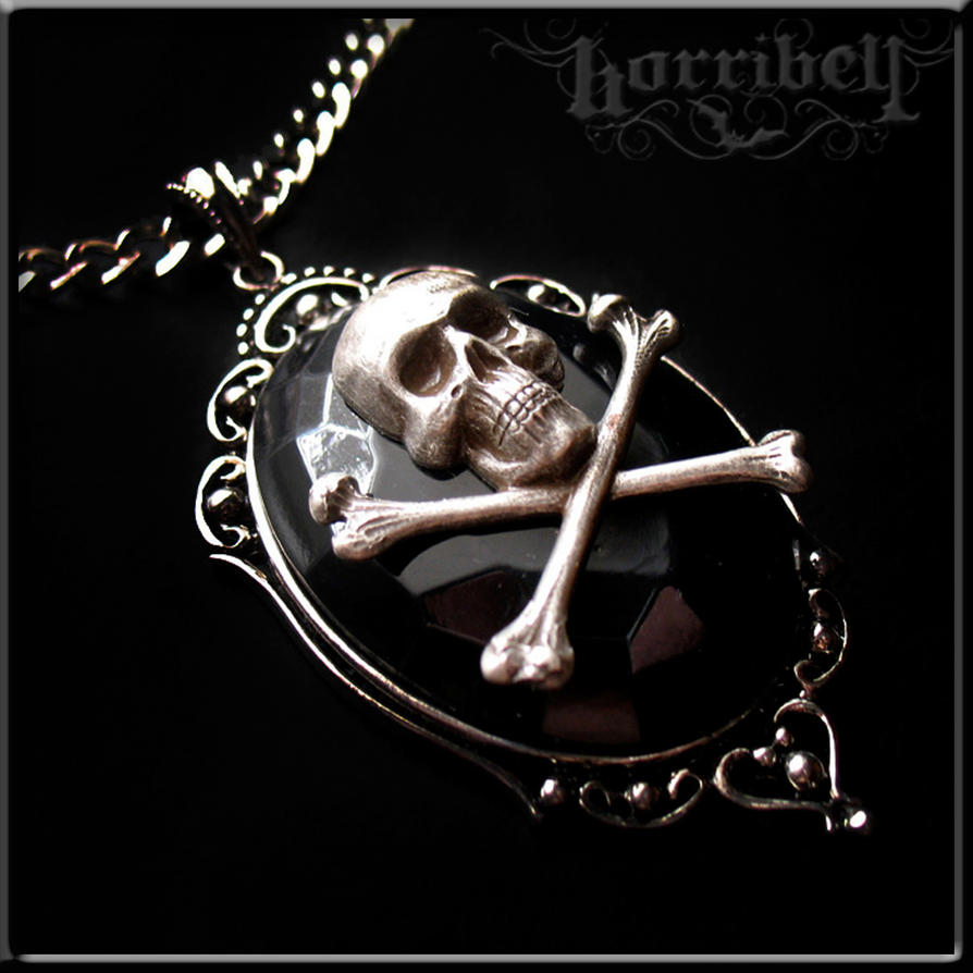 skull x bones pendant necklace by Horribell-Originals
