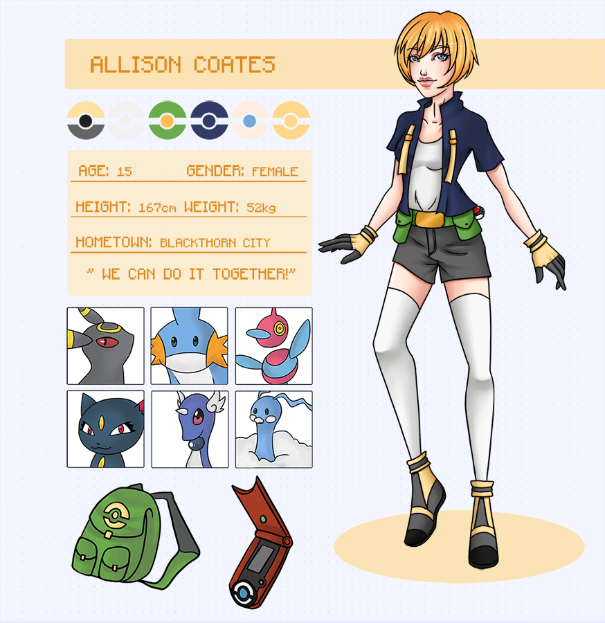 Pokemon: Allison Coates Reference Sheet by amuupon