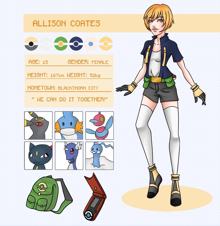 Pokemon: Allison Coates Reference Sheet by amuupon