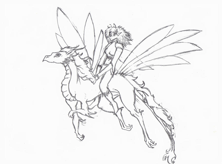 Fairy dragon by rodrobot on deviantart for Fairy and dragon coloring pages
