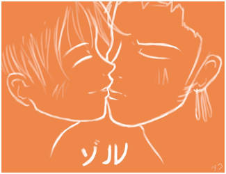 Zoro x Luffy kiss in orange by firnantowen