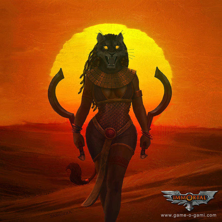 Immortal - Sekhmet - card game illustration by TheArtOfSanhueza