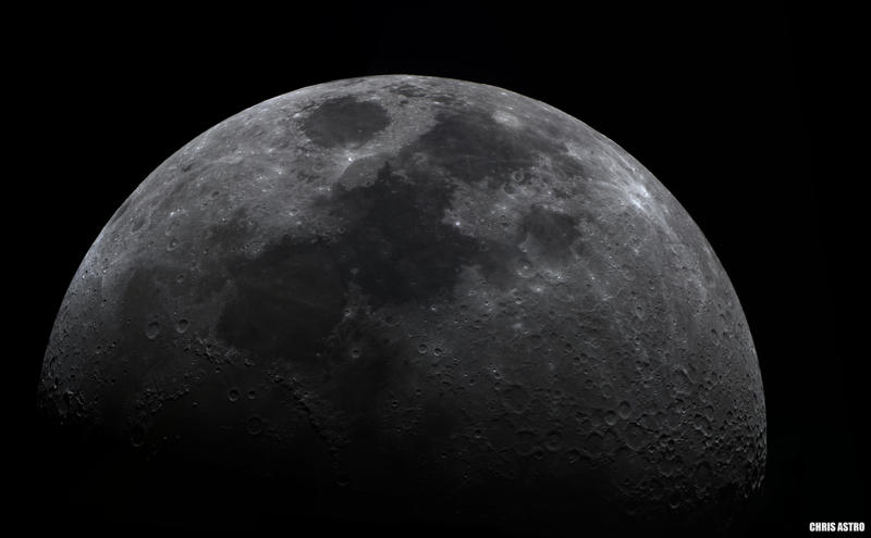 First Quarter Moon (Available for Download) by chrisastrophoto