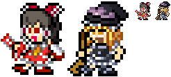 Reimu and Marisa 8bit megaman