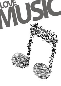 Love Music Typography - White by MadDesign