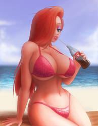 Jessica Rabbit on the beach by SAFartwoks