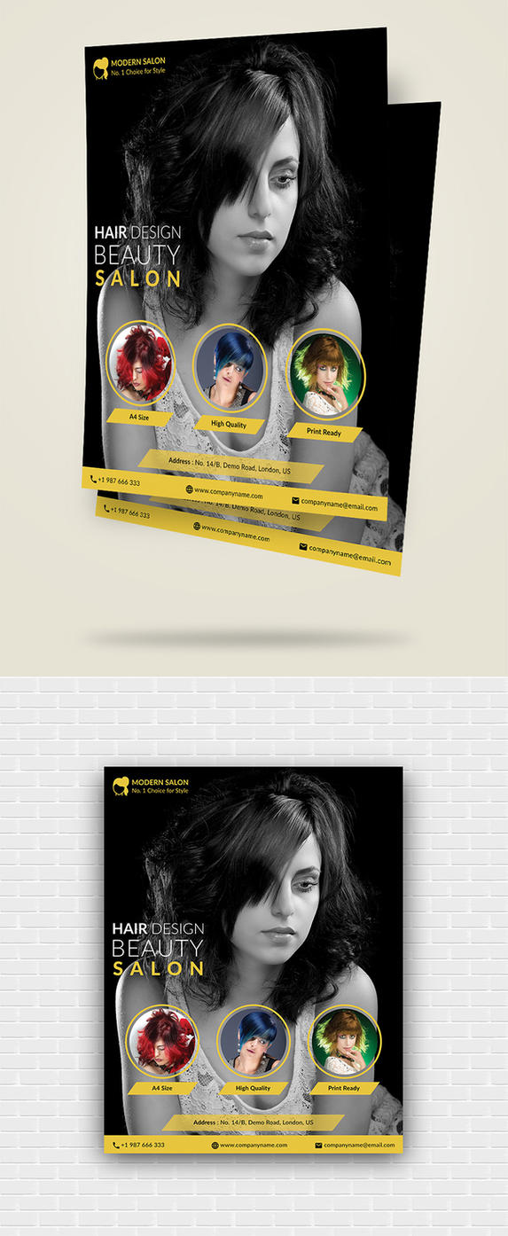 Modern Hair Salon Flyer Template by designpex