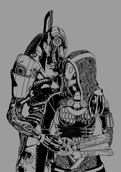 Tali and Legion - WIP by kikaimegami