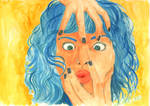 Self Portrait with Blue Hair