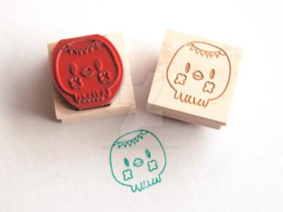 Kappa Squid rubber stamps by merryhappystudios