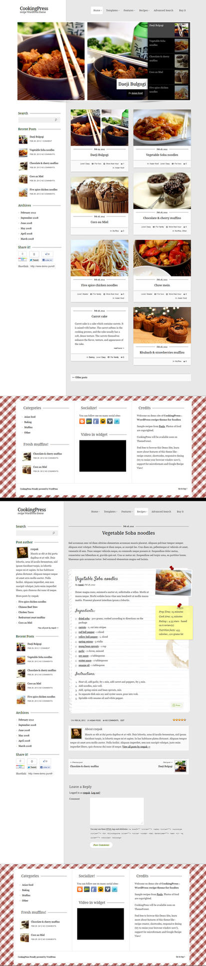 CookingPress  Recipe and  Food WordPress theme by rzepak