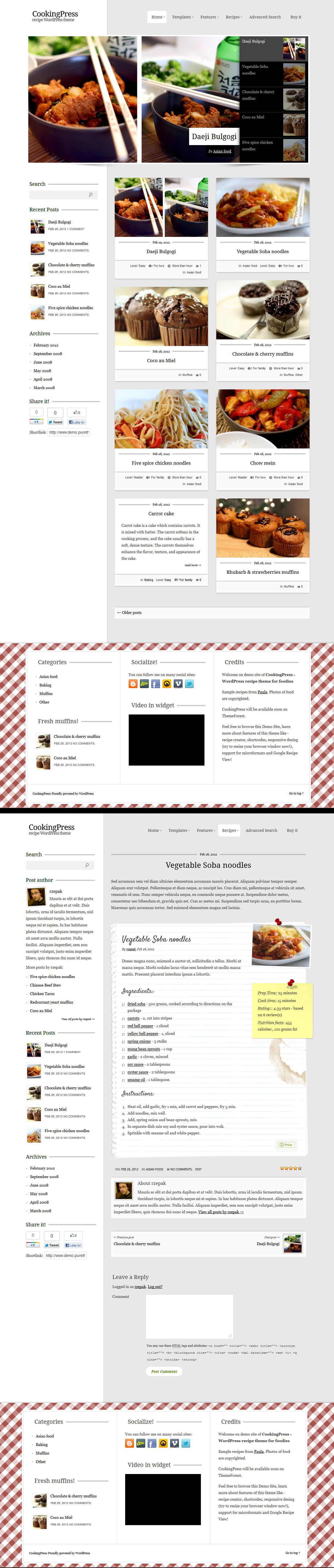 CookingPress  Recipe and  Food WordPress theme by rzepak