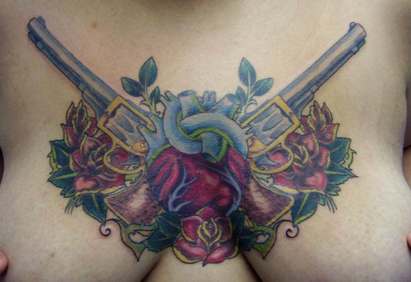 Traditional Chest Piece by tattooedzombie on deviantART